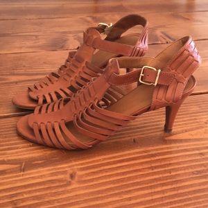 J. Crew Brown Leather Heels 7.5